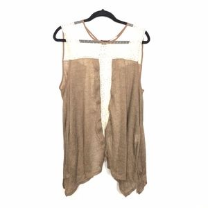Ryu Knit Crochet Open Tie Back Tank Tunic